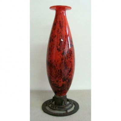 André Delatte Nancy - Vase On A Foot In Wrought Iron