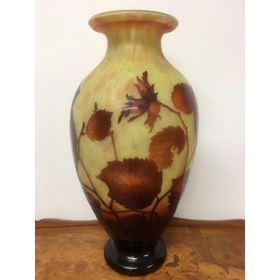 Daum - Large Vase With Leaf Decor
