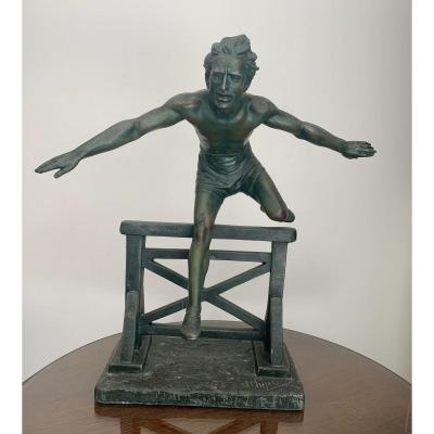 D.h. Chiparus - Sports Sculpture In Jumping Over Hurdles