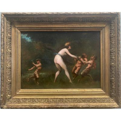 French School, Oil On Canvas, Woman And Satyrs