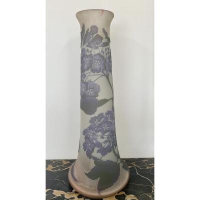Émile Gallé -  Grand Vase  «Hortensias»