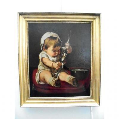 Portrait 19th C. Child At The Silver Spoon.