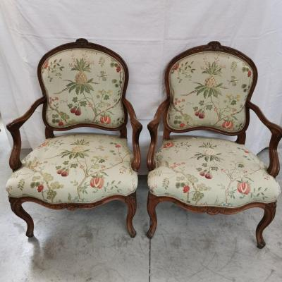 Pair Of Louis XV Armchairs To The Queen