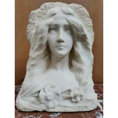 Bust Of Woman In Marble. Art Nouveau