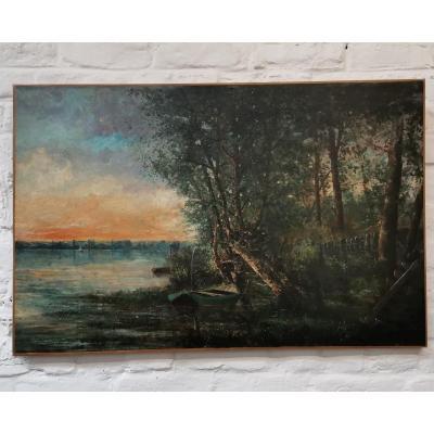 Bord d' étang. Paysage Post Impressioniste