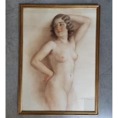 Antoni Utrillo Viadera. 2 Pastels. Nu Et Portrait
