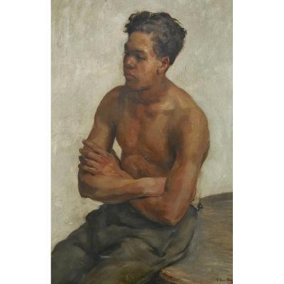 Grand Portrait Signé Van Beylen 133 x 104 cm encadré