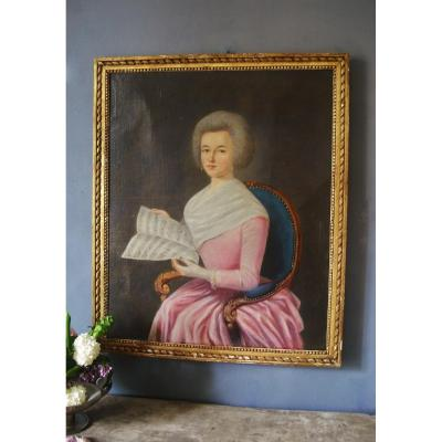 Young Woman With Partition - 80 X 66 Hst Framed