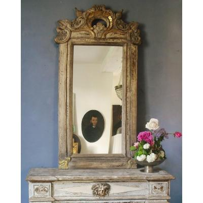 Pair Of Mirrors 18 Th 120 X 58 Polychromed Woodwork