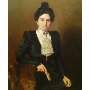 Grand Portrait En Pied  A  Demange 116 X 89  -hst 1899
