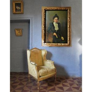 Large Portrait In Foot A Demange 137 X 102 -hst 1899