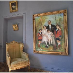 Grand et Rare Portrait De Famille Signé - 145 X 114
