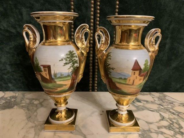 Paire De Vases D'époque Empire. -photo-2
