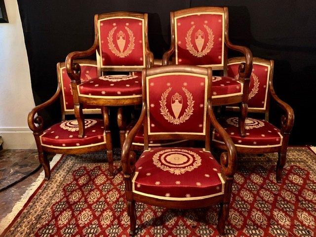 Ensemble De Six Fauteuils D'époque Empire Restauration.