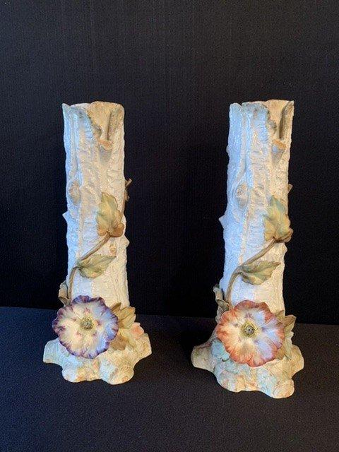 Barbotine. Paire De Grands Vases Aux Anémones. -photo-3