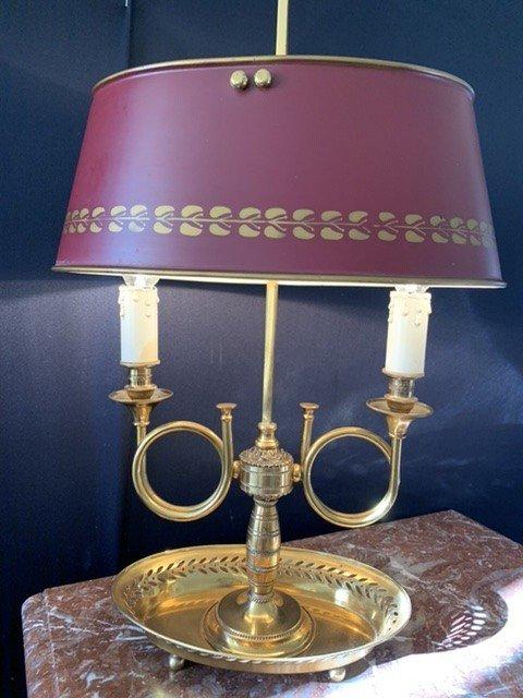 Lampe Bouillotte Aux Trompes De Chasse.