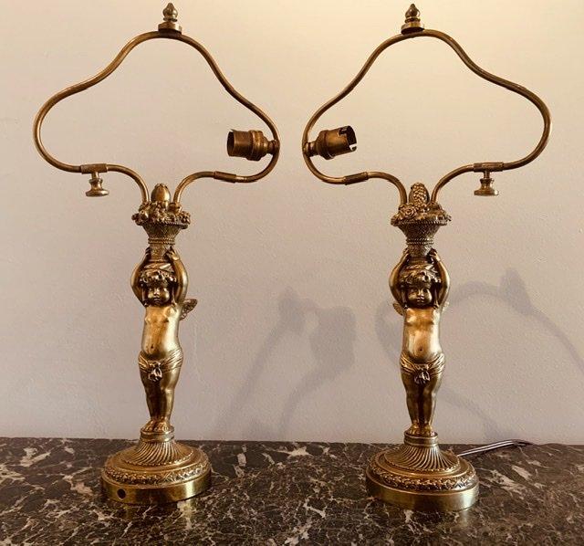Paire De Lampes, Angelots,napoléon III