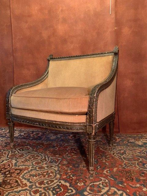 Marquise à Dossier Plat D'époque Louis XVI