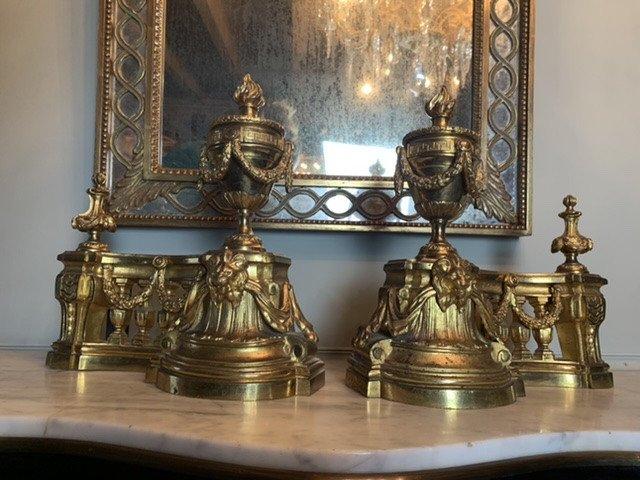 Miroir à Parecloses En Bois Doré. -photo-3