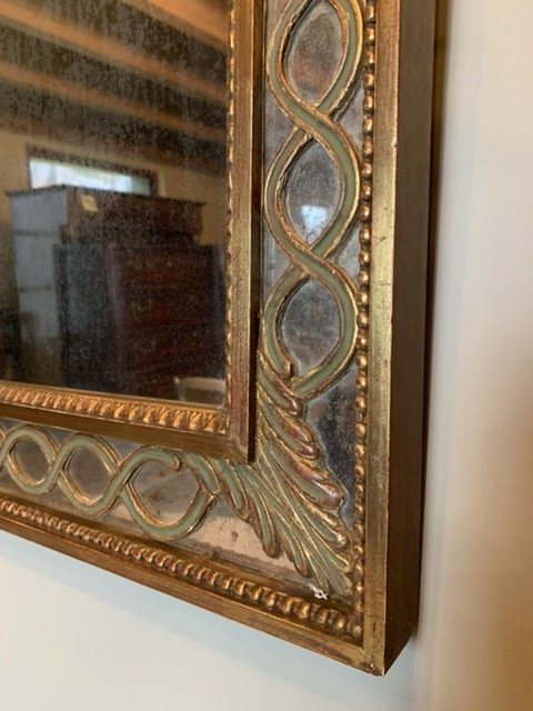Miroir à Parecloses En Bois Doré. -photo-4