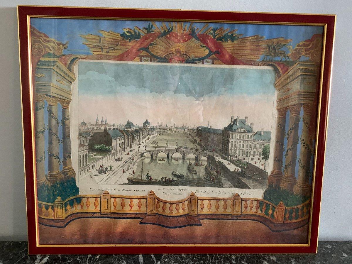 Vue D'optique D'époque XVIII Ème. Vue De Paris.-photo-1