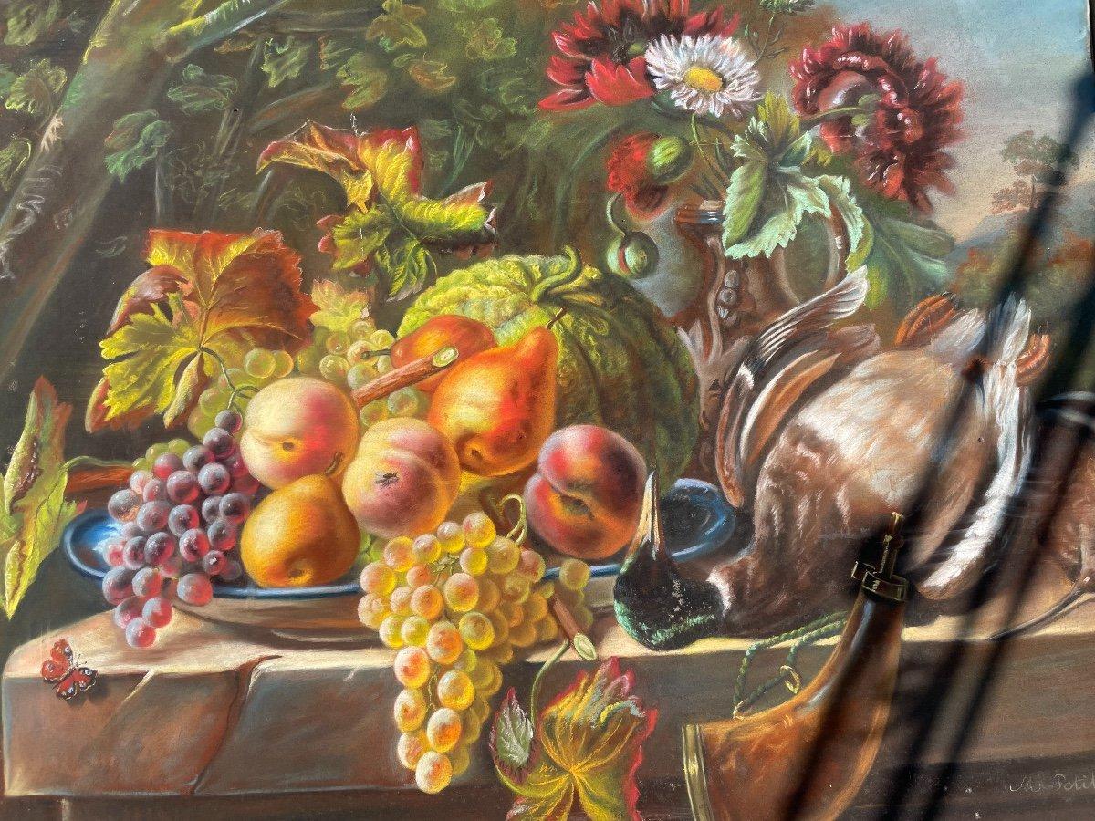 Pastel. Nature Morte Aux Fruits, Fleurs Et Gibier. -photo-3