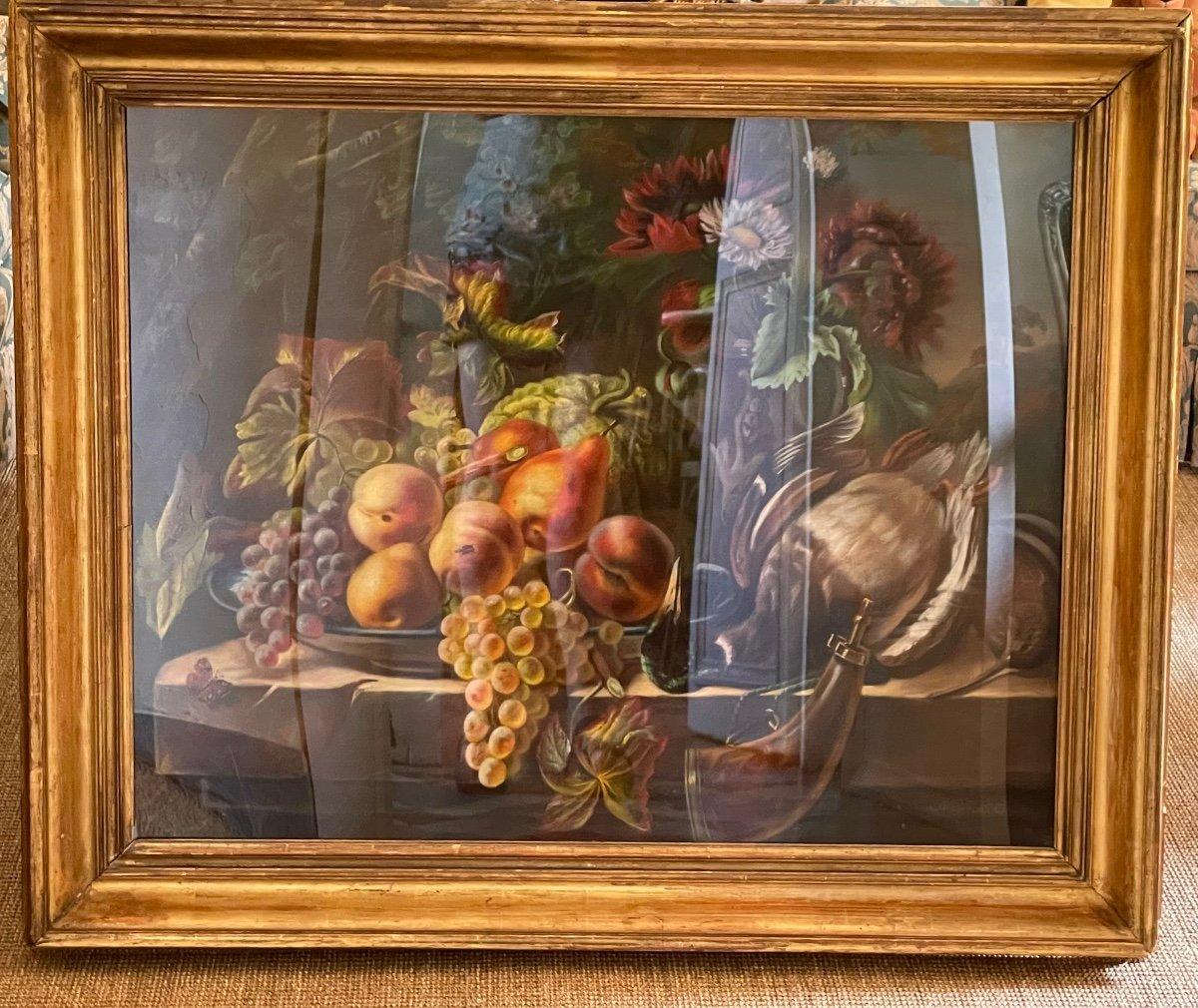 Pastel. Nature Morte Aux Fruits, Fleurs Et Gibier. -photo-4