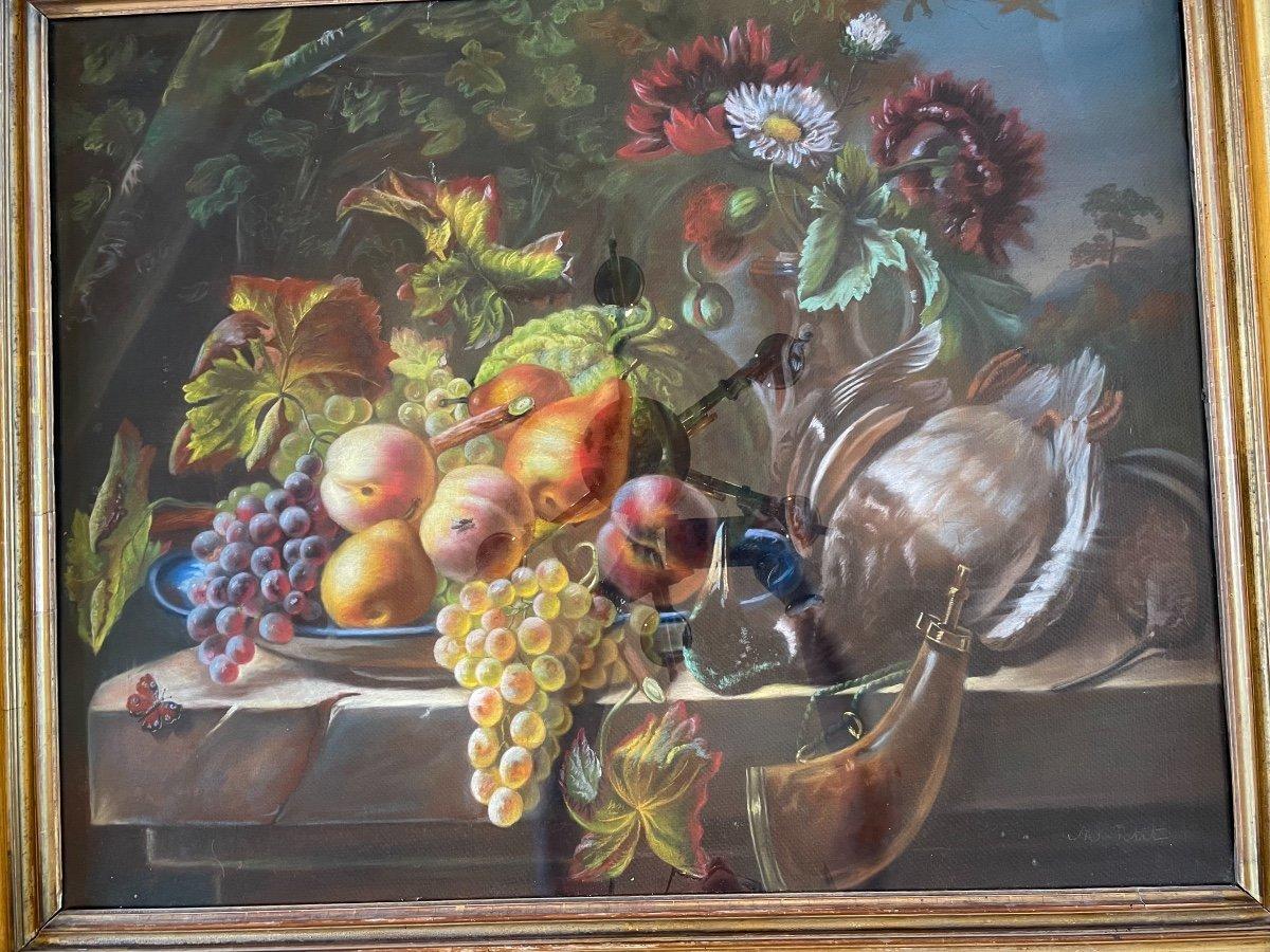 Pastel. Nature Morte Aux Fruits, Fleurs Et Gibier. -photo-6