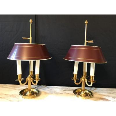 Paire De Lampes Bouillotte Louis XVI