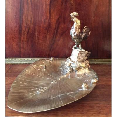 Auguste-nicolas Cain (1822-1894) Bronze Vide-poche Au Coq Chantant.