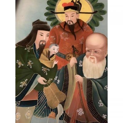 Fixé Sous Verre. Chine Vers 1900.