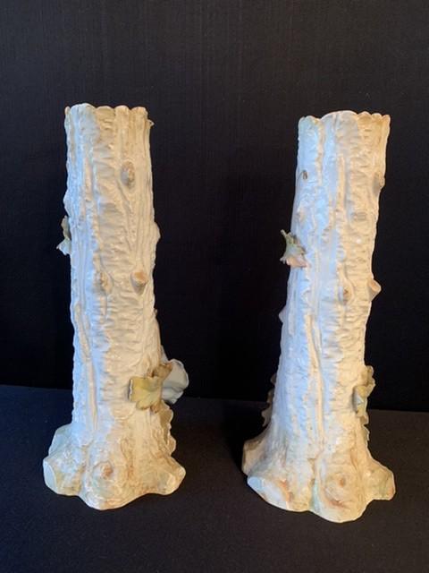 Barbotine. Paire De Grands Vases Aux Anémones. -photo-4