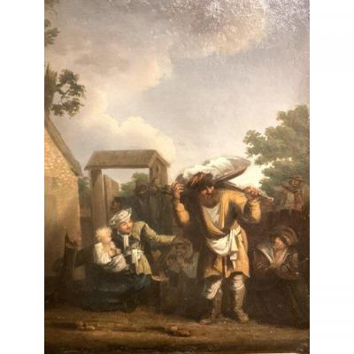 Jan De Groot (1650-1726)Huile sur cuivre.