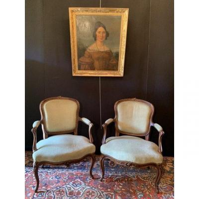 Paire De Fauteuils /cabriolets De Style Louis XV
