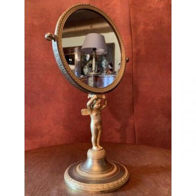 Miroir De Toilette En Bronze Doré