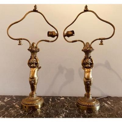 Pair Of Lamps, Cherubs, Napoleon III