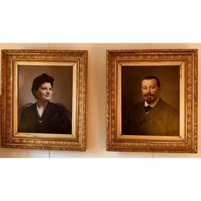 Jean-françois Batut (1828-1907) Pair Of Portraits.