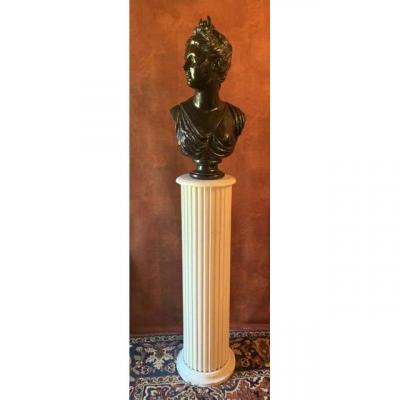 Bust Of Woman / Diane Huntress On Column.
