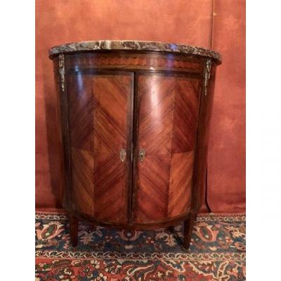 Commode Half-moon With Doors Louis XVI Style In Marquetry.