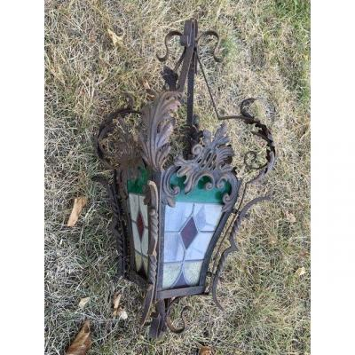 Lantern In Iron And Lead Glass