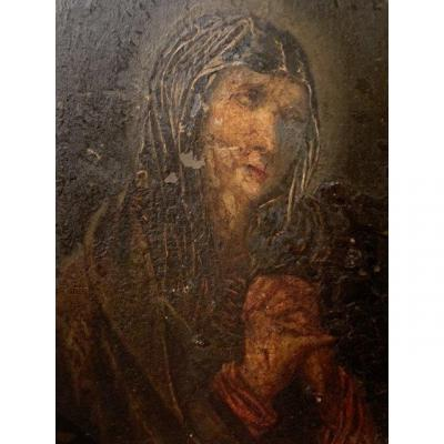 Oil On Copper. Mater Dolorosa. XVII Th.