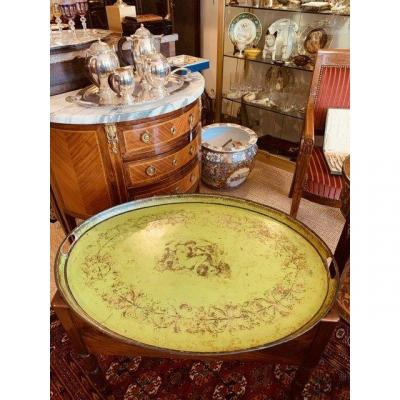 Large tray in painted sheet metal,Charles X period.
