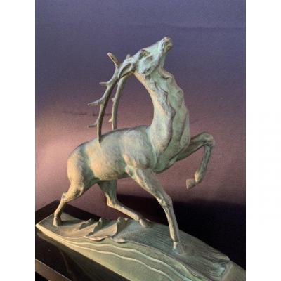 Art Deco Stylized Deer Statue