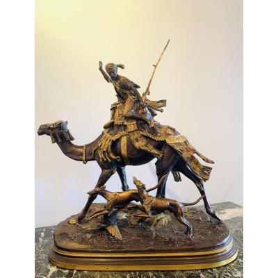 Bronze/sculpture Orientaliste D'Alfred  Dubucand ( 1828-1894). «chasse Dans Le Sahara «.