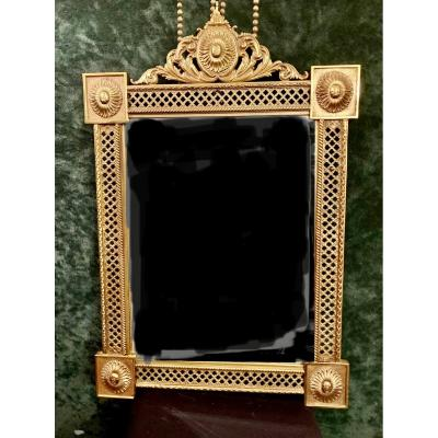 Miroir à Fronton En Bronze Doré.