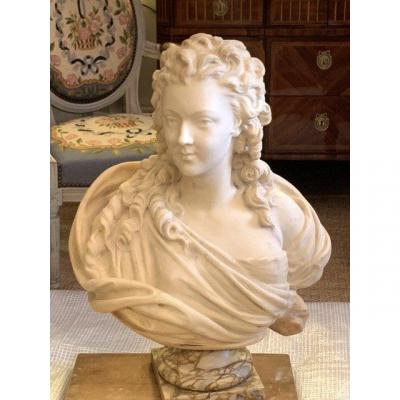 Large Bust Of A Young Woman Of Quality,  In Carrara Marble