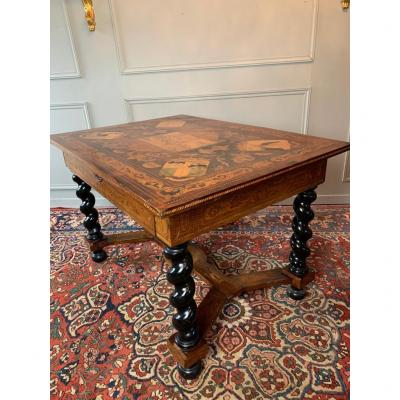 18th Century Dutch Table In Marquetry.