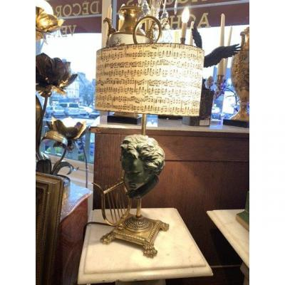 Bronze Lamp, Bust Of Beethoven.