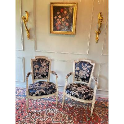 Pair Of Louis XVI Period Armchairs.