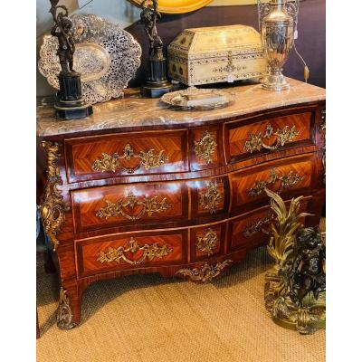 Louis XV Period Tomb Commode In Marquetry. Two Marks Jme XVIIIth Century.